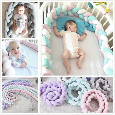 Baby Infant Knot Plush Crib Bumper Bed Bedding Cot Braid Pillow Pad Protector