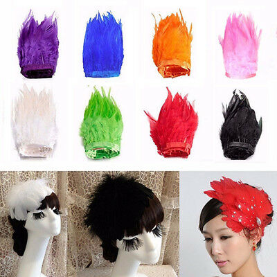 Rooster Hackle Feather Fringe Craft Sewing Costume Millinery Trim Material