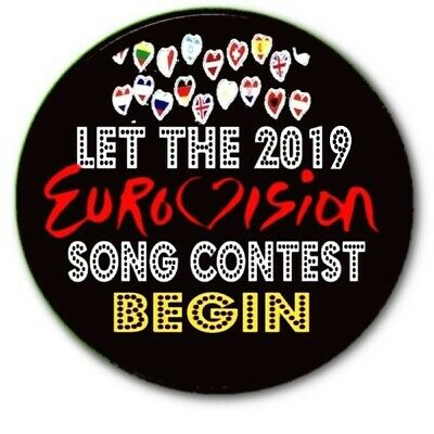 """Large Tel Aviv 2019 Eurovision Song Contest Party Badge~ 55 Mm/ 2.2"""""""