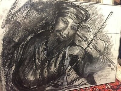 Vintage Big Original Signet Charcoal Drawing