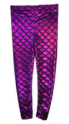 GIRLS METALLIC FISH SCALE LEGGINGS MERMAID KIDS SHINY FOIL CHILDRENS Purple 5-13