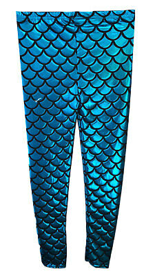 GIRLS METALLIC FISH SCALE LEGGINGS MERMAID KIDS SHINY FOIL CHILDRENS Turquoise