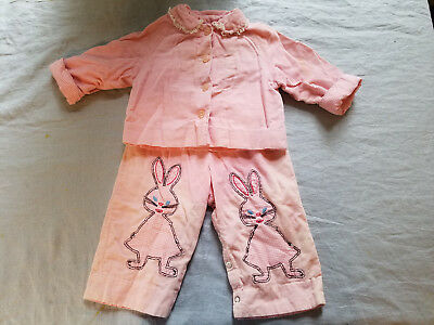 Vintage cotton corduroy overalls & jacket with rabbits