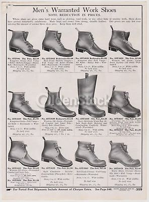 Victorian Men's Leather Work Shoes Sears Roebuck Designs Antique Graphic Adverti
