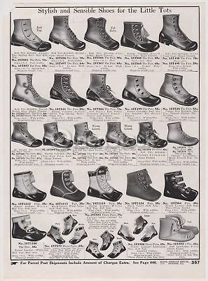 Victorian Boys & Girls Little Tiny Baby Shoes Designs Antique Graphic Advertisin