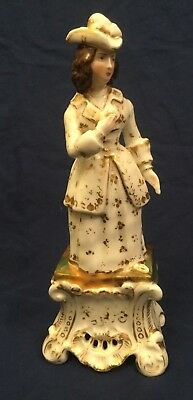 19th Century French Porcelain Lady Figure in 18th Century Dress.