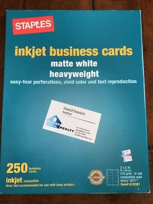 250 Staples Business Cards Matte White Heavyweight 2 X 3.5 In. Inkjet 610381