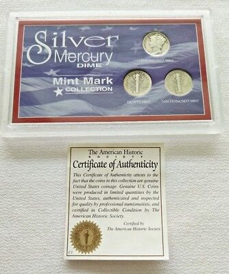 US Coins Silver Mercury Dime 3-Coin Mint Mark Collection