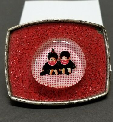 Sekiguchi Monchichi Monkey belt buckle red glitter hipster perfect 80's memory