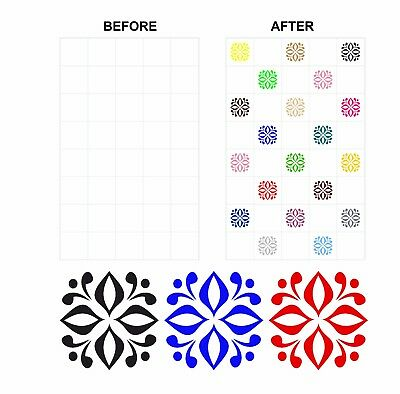 Coloured Mosaic Floral Stickers Transfers For 150mm x 150mm /& 6 inch Tiles CG05