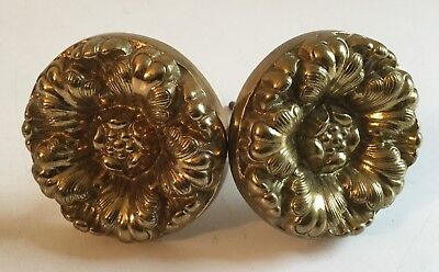 Antique Solid Brass Floral Pattern Curtain Tie Backs Pair