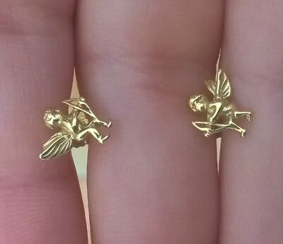 Boucles d'oreille OR 750 18 CT 18K anges cupidons angelots