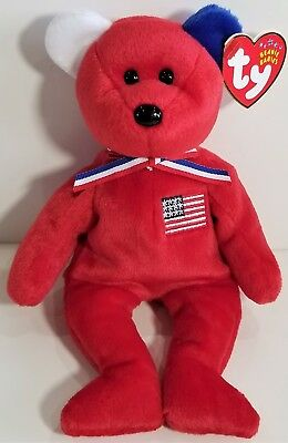 "RARE! REVERSED EARS! TY Beanie Babies ""AMERICA (red)"" USA TEDDY BEAR - MWMTs!"