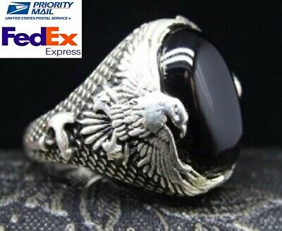 Turkish 925 Sterling Silver EAGLE Black Onyx Stone Mens man ring ALL SİZE us