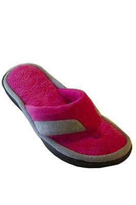 06ae98aea06d ISOTONER Women s Bright Pink Gray Microterry   Jersey Thong Microterry  Slippers