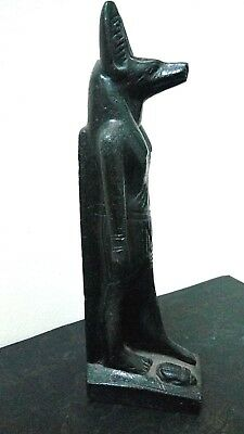 RARE ANTIQUE  ANCIENT EGYPTIAN ANUBIS God Deity Dog Statue Stone with Scarab Bc