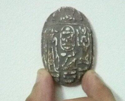 ANCIENT EGYPTIAN SCARAB ANTIQUE Pharaonic Limestone 2075-1950 BC
