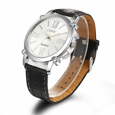 #IC Hot Women&Men Stainless Steel Dial Leather Band Analog Sport Wrist Watch