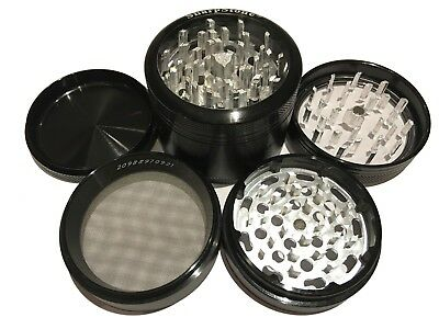"""SharpStone® 2.5"""" Inch 4pc Clear Top Herb Tobacco Large Black Grinder + Extras"""