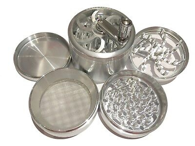 """SharpStone® 3.0"""" Inch 4pc Crank Top Herb Tobacco X-Large Silver Grinder + Extras"""