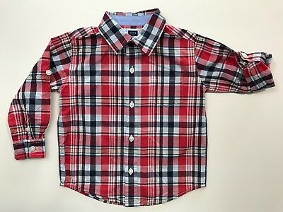JANIE AND JACK Nantucket Tide Plaid Shirt Roll Up Sleeve Size 18-24 Months EUC