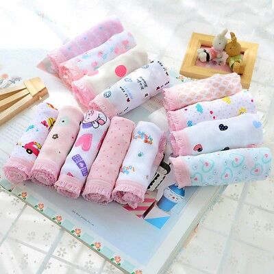 US 12pcs Baby Girls Underwear Soft Cotton Panties Kids Short Briefs Underpants