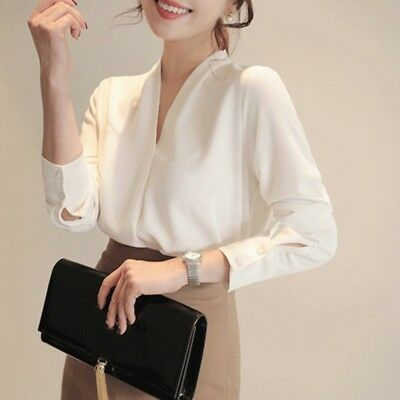 US Women Long Sleeve Chiffon Blouse Office Lady Casual Solid Shirt V Neck Tops