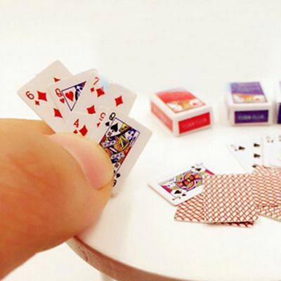 1Set Miniature Playing Cards Mini Poker Game Dollhouse 1/12 Scale Accessory Hot