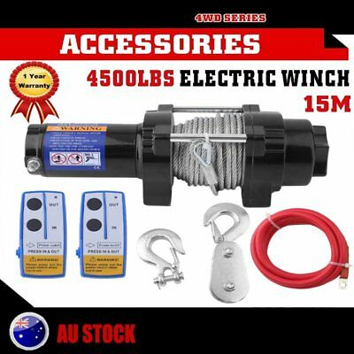 4500LBS/2041kg Electric Crawler Winch Synthetic Rope Remote Wireless ATV 12V AU