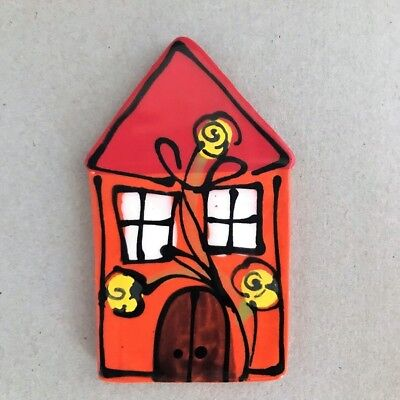 CERAMIC HOUSE - 100x63mm - Orange ~ Mosaic, Art, Craft