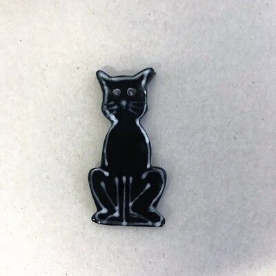 CERAMIC CAT - Front view sitting - Black ~ Ceramic Mosaic Tiles