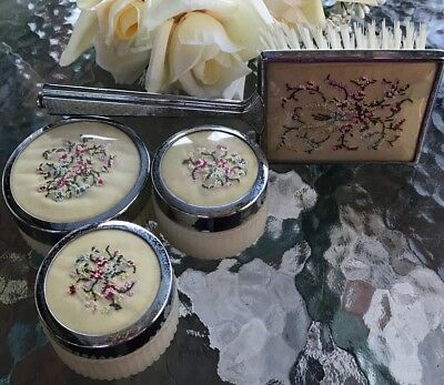 1940s Vintage Petit Point Vanity Set Pink Roses Trinket Box Hairbrush