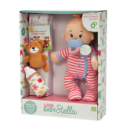New Manhattan Toys Wee Baby Stella Sleepy Time Lavender Scent Soft Doll Set 12m+