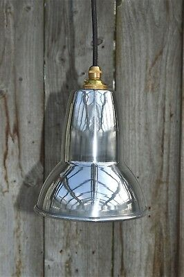 Cool 1930's design small pendant hanging light polished metal shade APG3