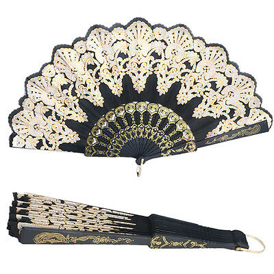 Spanish Lace Fabric Silk Folding Hand Held Dance Fans Flower Party Wedding *