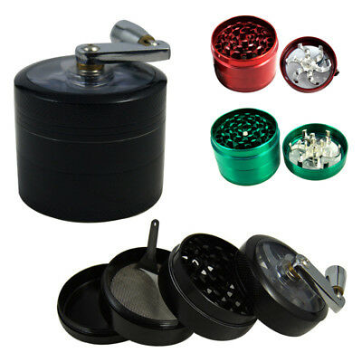 55mm Zinc Alloy Hand Crank Herb Spice Crusher Muller Mill Tobacco Grinder NEW