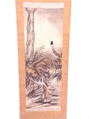 3499624: Japanese Wall Hanging Scroll / Hand Painted Tiger / Artist Work