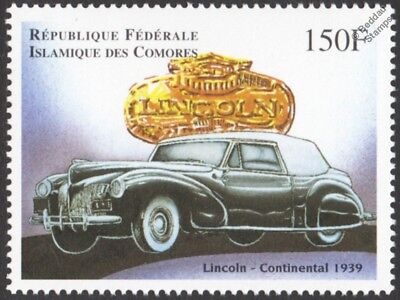 1939 LINCOLN Continental Classic Car / Automobile Stamp (1998 Comoros)