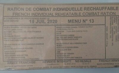 RATION DE COMBAT ARMEE FRANCAISE MENU 13 18 juillet 2020 RCIR FRENCH