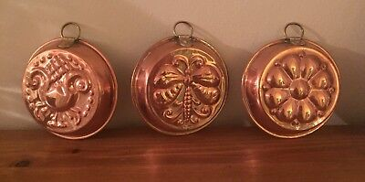 Antique vintage Copper Floral Mould Jelly Cake Decoration Wall Butterfly fruit