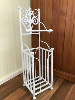 Elegant Iron French Style Toilet Paper Roll Holder Stand With Storage WHT HYL018