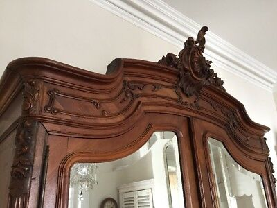 Antique French Louis XV Double Armoire Wardrobe Mirrored doors - Super Condition