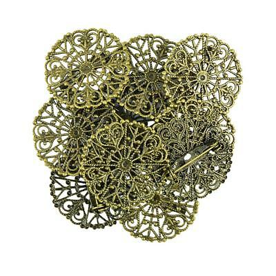 10x Filigree Flower Blank Brooch Settings Lapel Pin Safety Pins Base Badge
