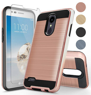 For LG Aristo 2/Tribute Dynasty/Phoenix 4 Hard Case Cover+Glass Screen Protector