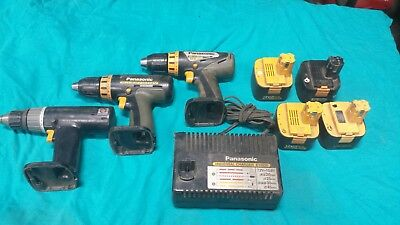 Panasonic Used Genuine OEM Cordless 12V Drill Driver 12 Volt lot of 3  w/charger