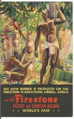 Postcard 1934, How Rubber Is Produced Firestone Plantation, Liberia, Africa