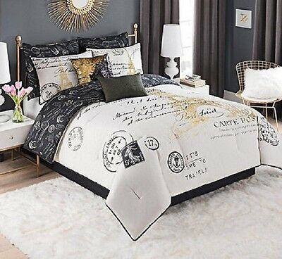 King Size Bedding Paris Comforter Set Decor For Bedroom French White