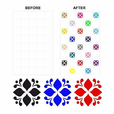 Coloured Mosaic Floral Stickers Transfers For 150mm x 150mm & 6 inch Tiles CG02