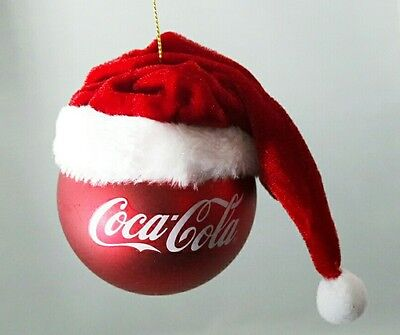 "Coca Cola Logo Red Santa Hat 3.75"" Ball Ornament Kurt Adler Gift Collectible"