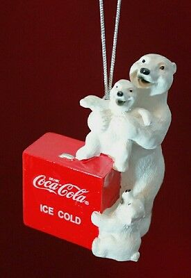 "Coca Cola Polar Bear Family & Cooler CHRISTMAS Holiday Resin 2.75"" Ornament Gift"